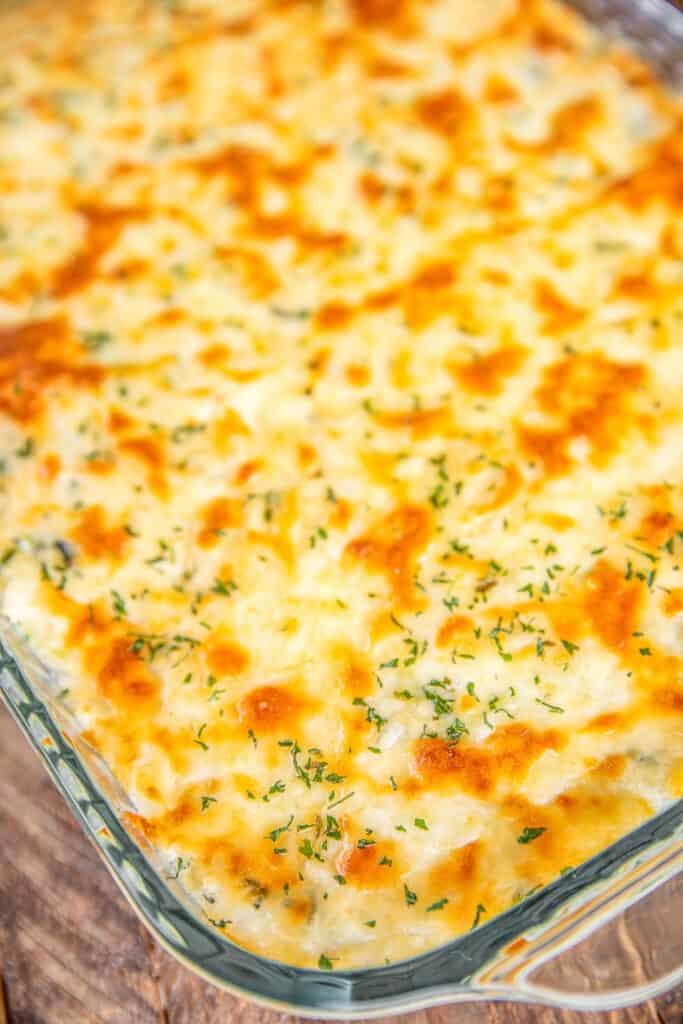 baking dish of cheesy rice