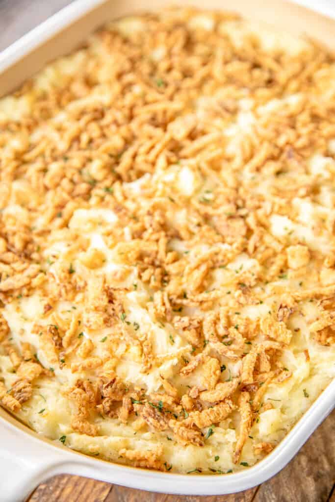baking dish of mashed potato casserole