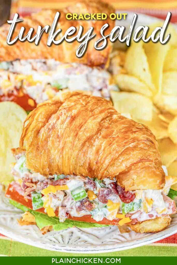 turkey salad sandwich on a croissant