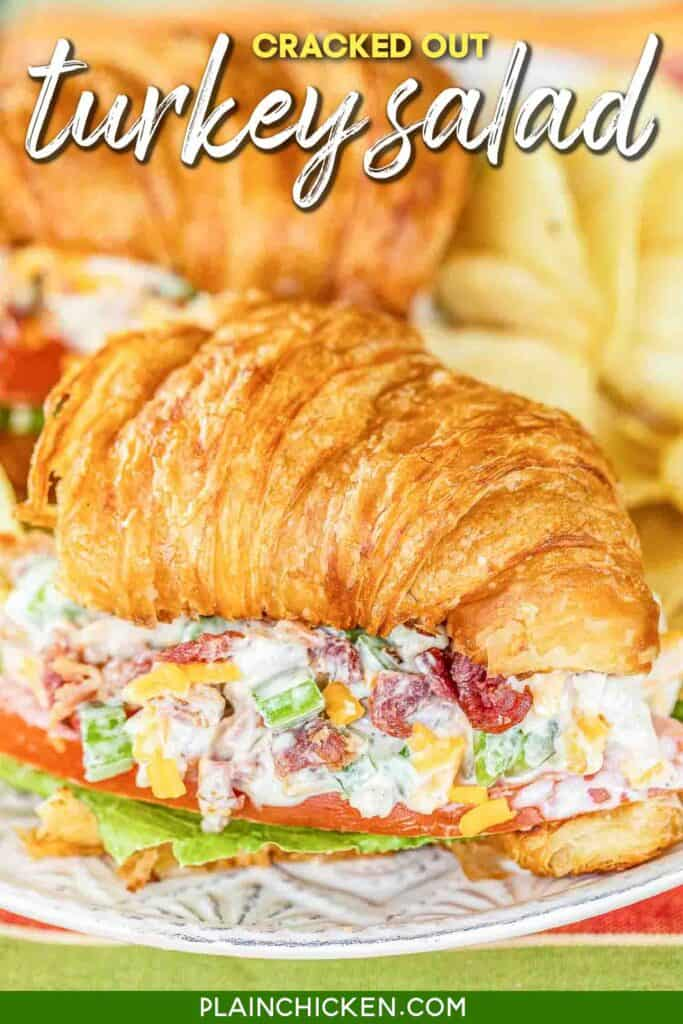 turkey salad on a croissantturkey salad on a croissant