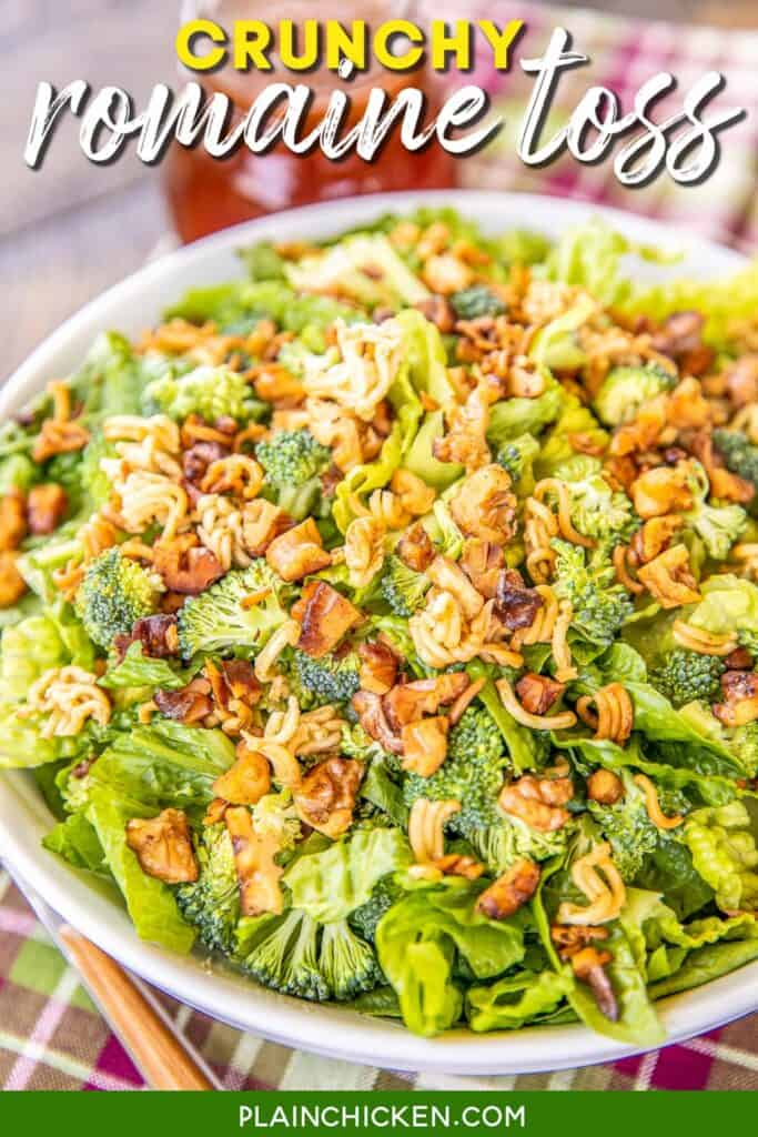 bowl of crunchy romaine tossed salad