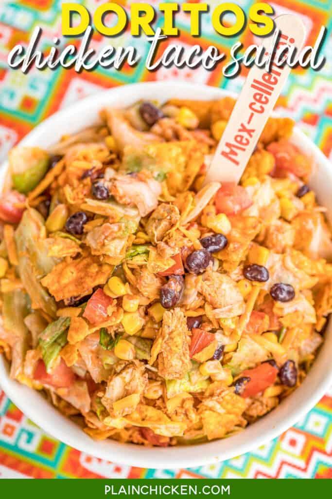bowl of doritos chicken taco salad