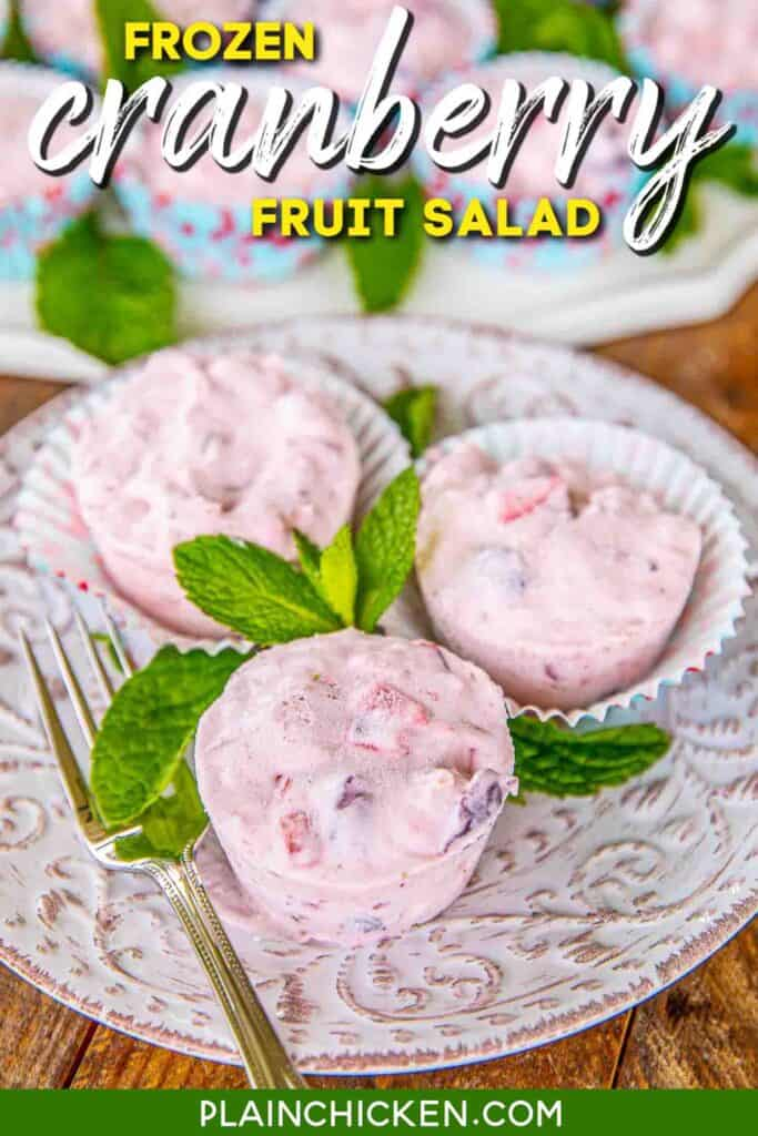 frozen cranberry salad cups on a plate