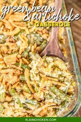 baking dish of green bean and artichoke casserole