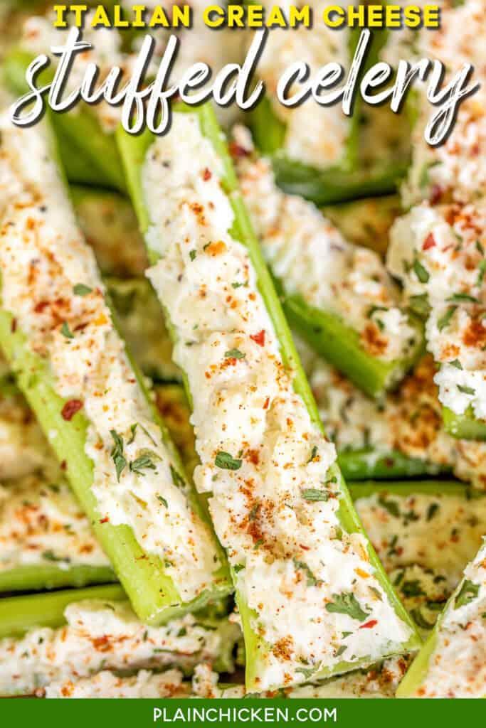 platter of stuffed celery