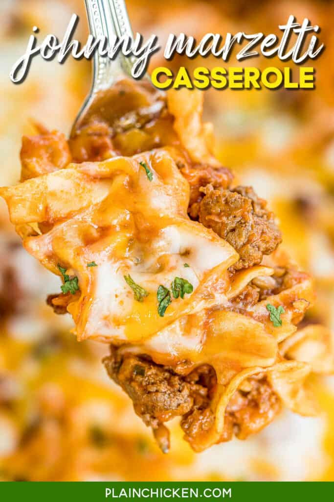 forkful of cheesy beef pasta