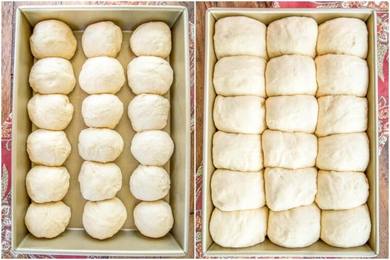 2 photos of a pan of bread rolls rising