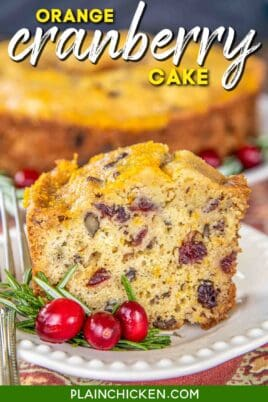 slice of orange cranberry cake on a plate