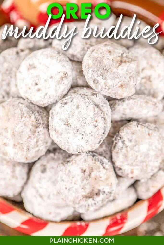 bowl of powder sugar coated oreo muddy buddies