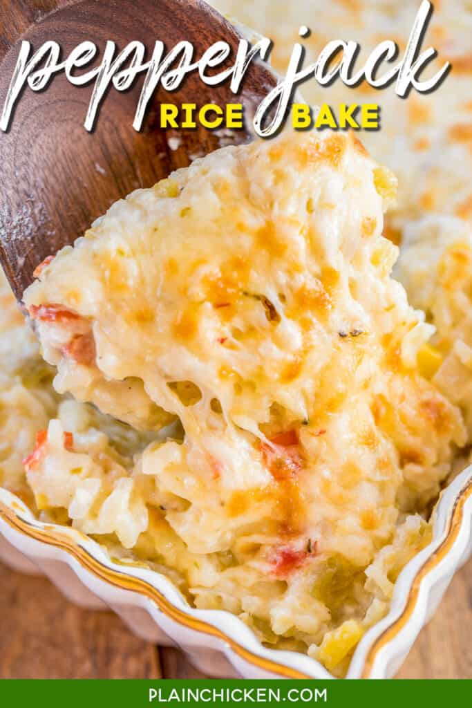 scooping pepper jack rice from baking dish