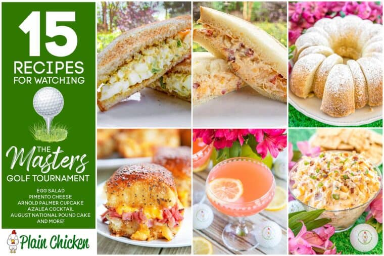 collage of Masters golf tournament recipes