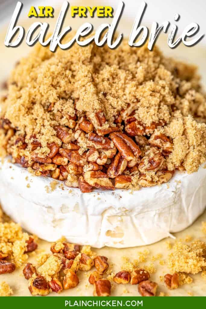 brie on puff pastry topped with pecans and brown sugar