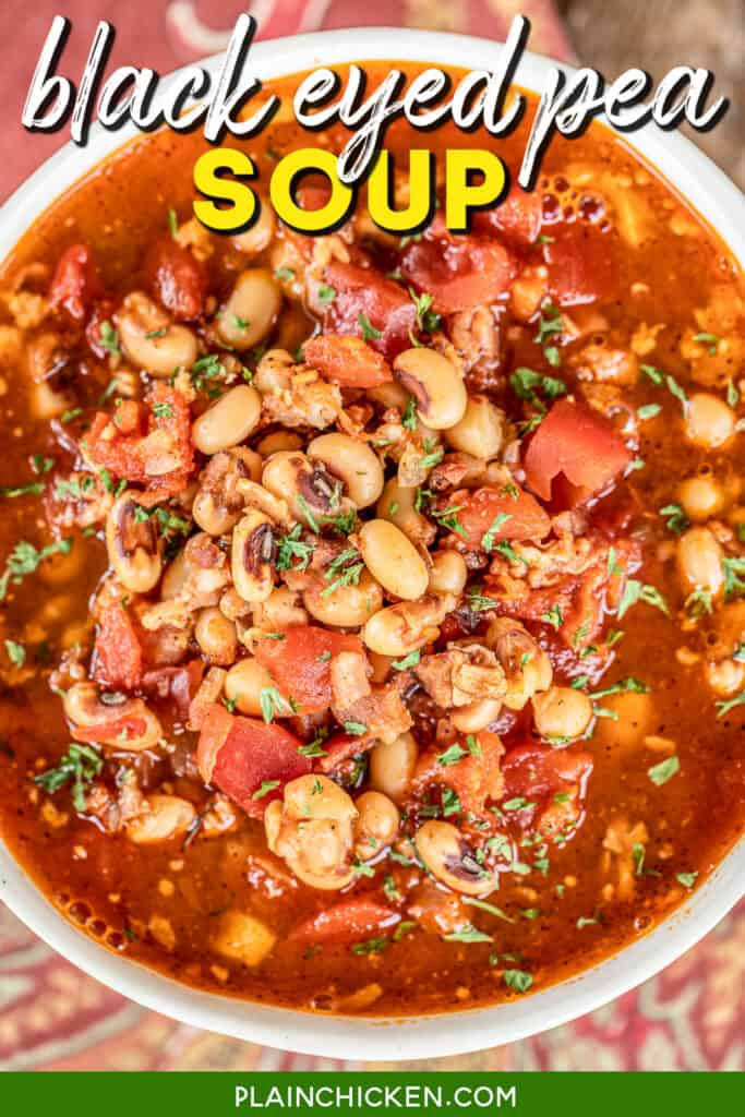 bowl of black eyed pea and bacon soup