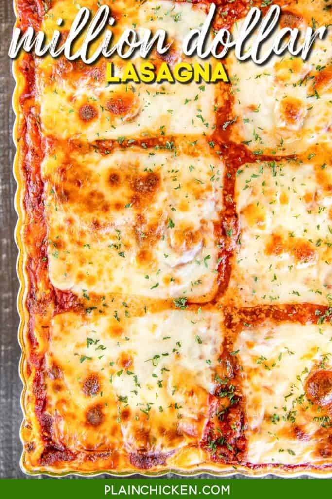 million dollar lasagna in baking dish