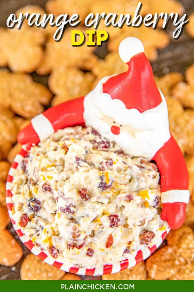 bowl of cream cheese cranberry dip