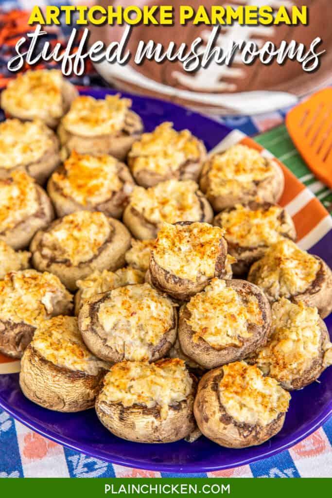 platter of artichoke and parmesan stuffed mushrooms