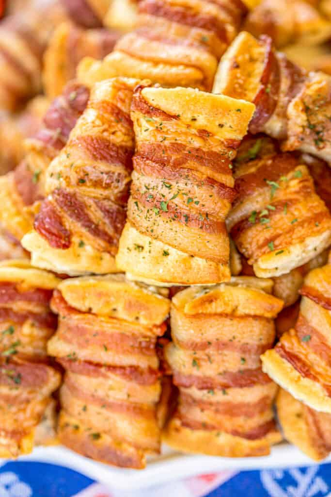 plate of bacon wrapped club crackers