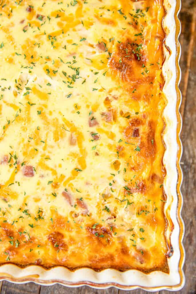 baking dish of ham and potato casserole