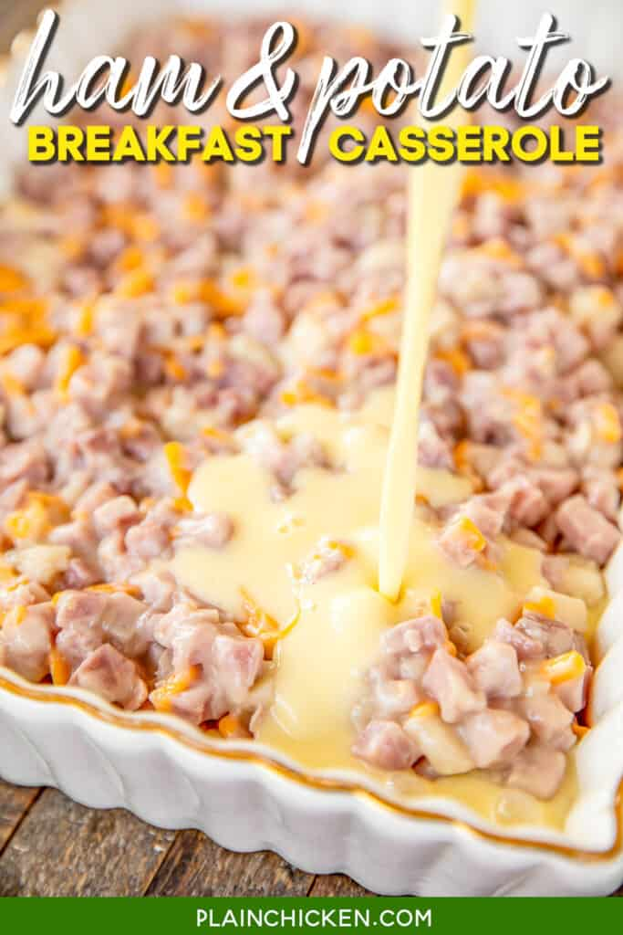 pouring egg custard over ham and potatoes