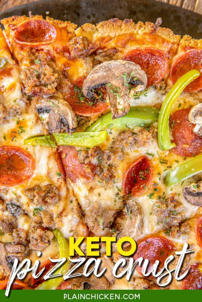 close up of a slice of keto pizza