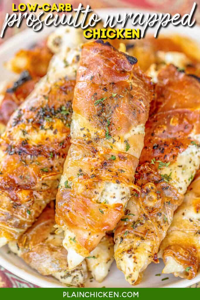 plate of prosciutto wrapped baked chicken tenders