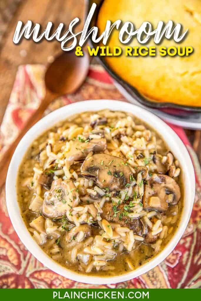 bowl of mushroom & rice soup