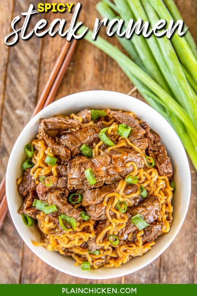 bowl of steak ramen noodles and green onions