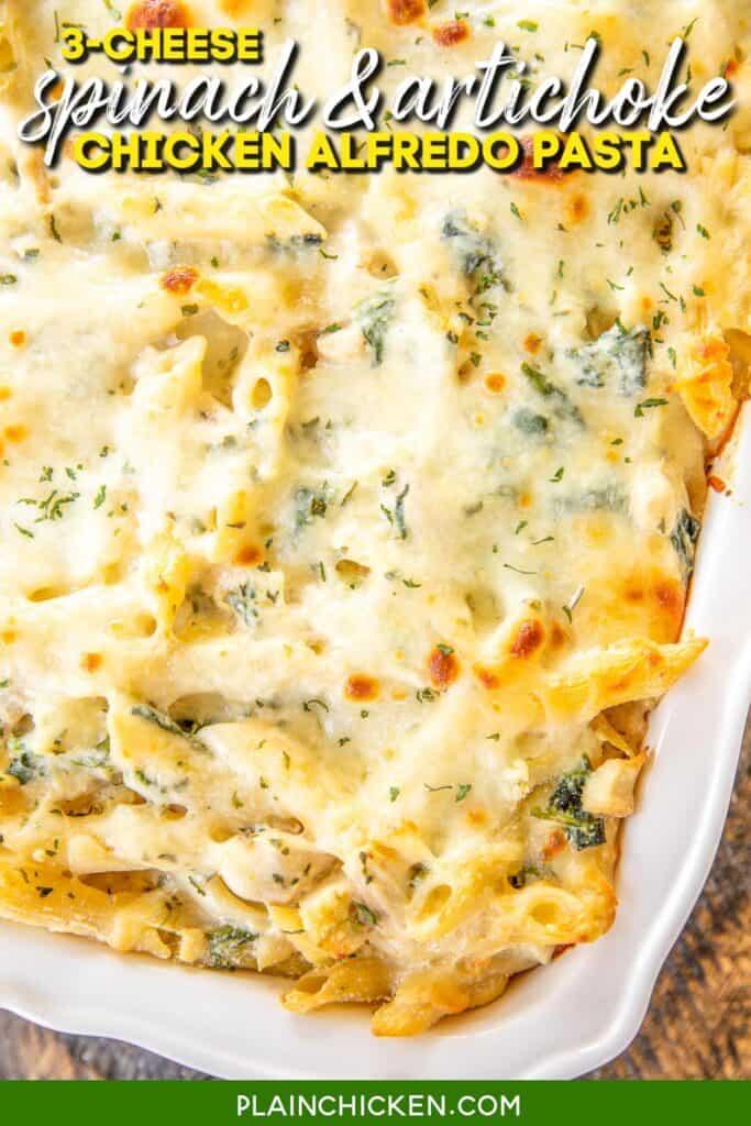 baking dish of cheesy pasta