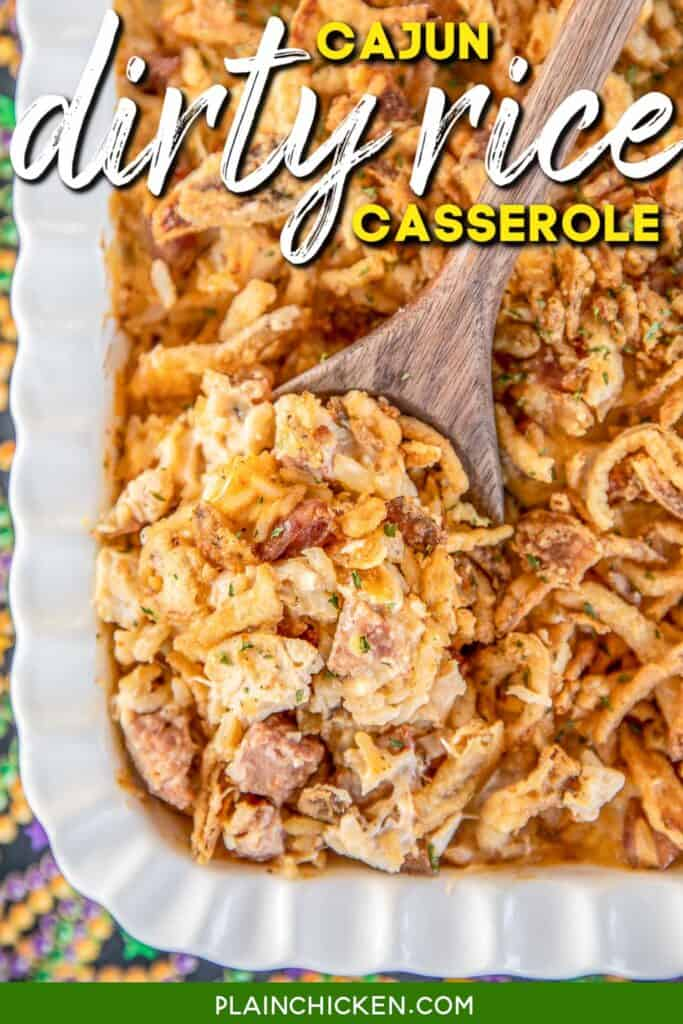spoonful of rice casserole with chicken and smoked sausage