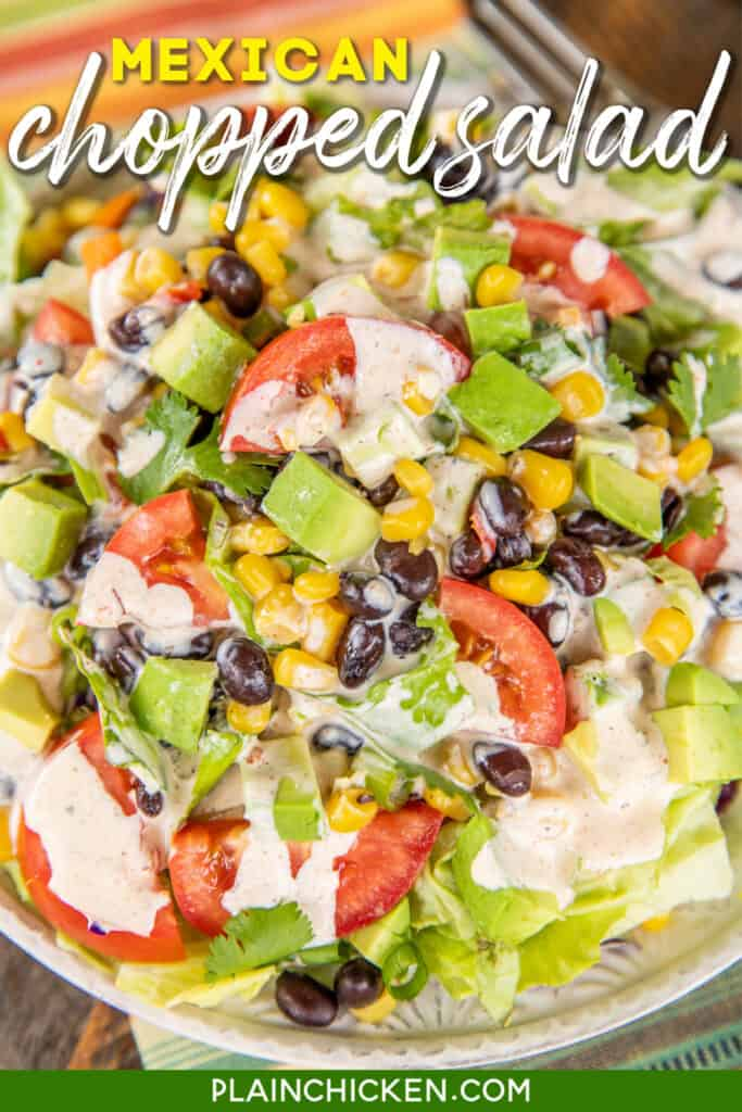 plate of salad with black beans & corn
