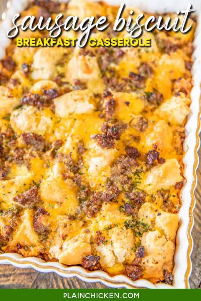 sausage biscuit breakfast casserole in baking dish