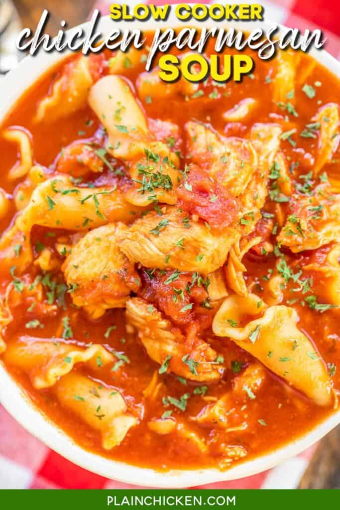 bowl of tomato, chicken and pasta soup
