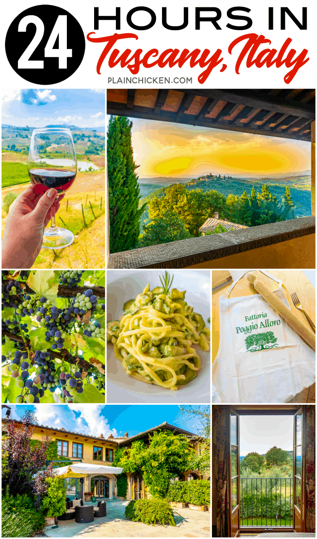 24 hours in Tuscany Italy with Adventures by Disney  - pasta making class at an organic farm and winery with a homemade pasta wine lunch afterwards. Dinner at a castle in the Tuscan countryside with the most AMAZING views!!! PLUS the cutest hotel in the heart of the Chianti region. An experience of a lifetime! #travel #italy #tuscany #europeantravel