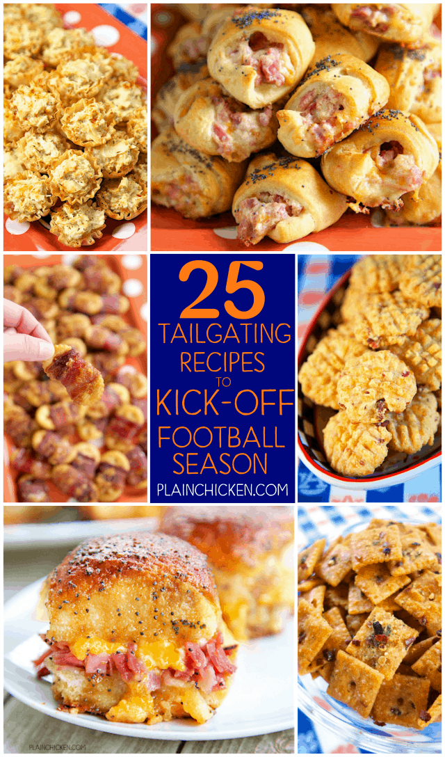 25 Tailgating Recipes to Kick Off Football Season - recipes that are guaranteed to be the winner of your football parties and tailgates! I want to eat them all!!