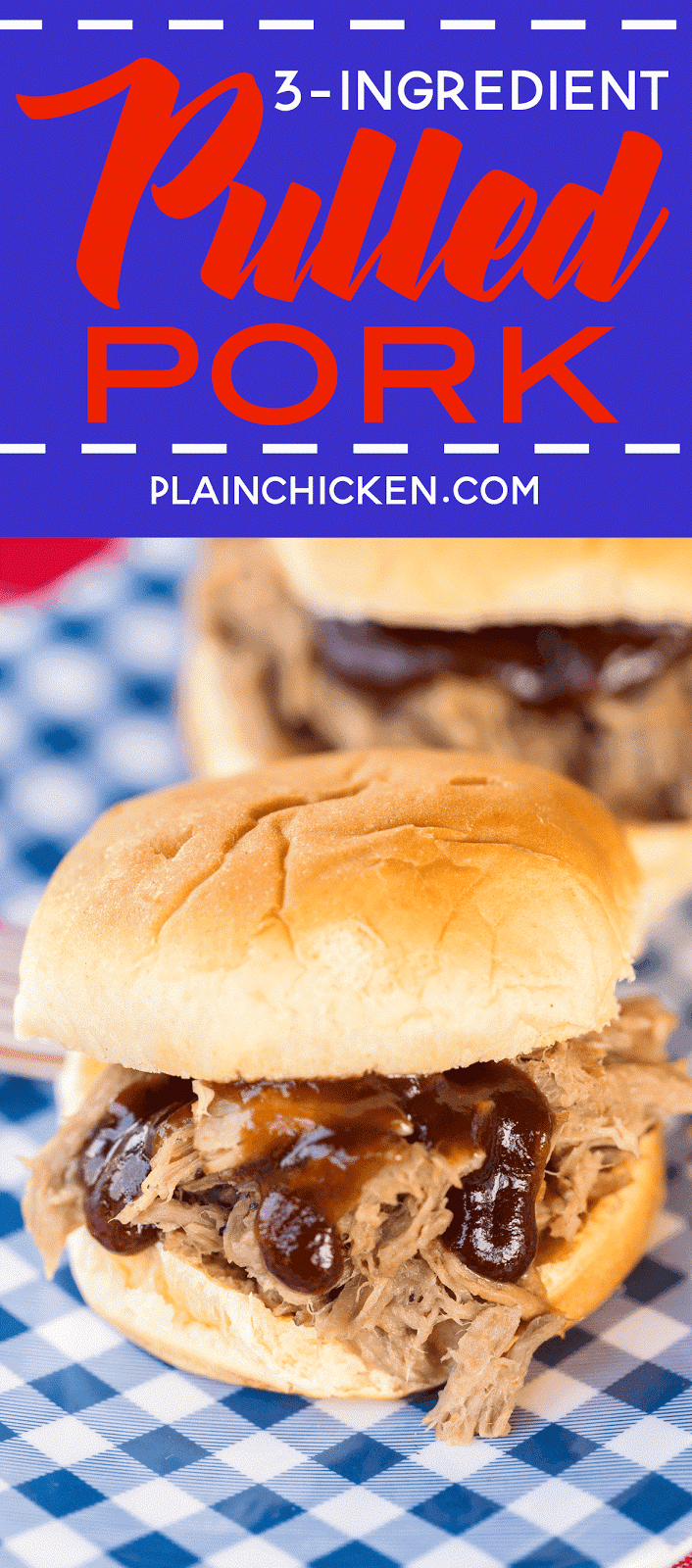 3-Ingredient Pulled Pork - slow cooked pork shoulder that is better than any restaurant! Great on hamburger buns, on top of a baked potato, nachos or a salad. All you need is some slaw and baked beans and you are all set. Easy peasy party! You can also freeze the leftovers for later.