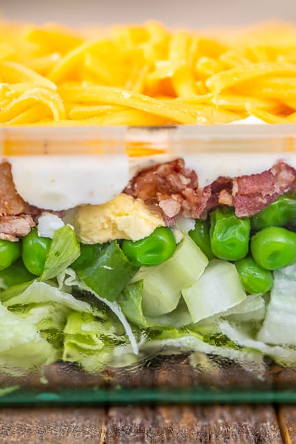 layers of salad in the casserole dish