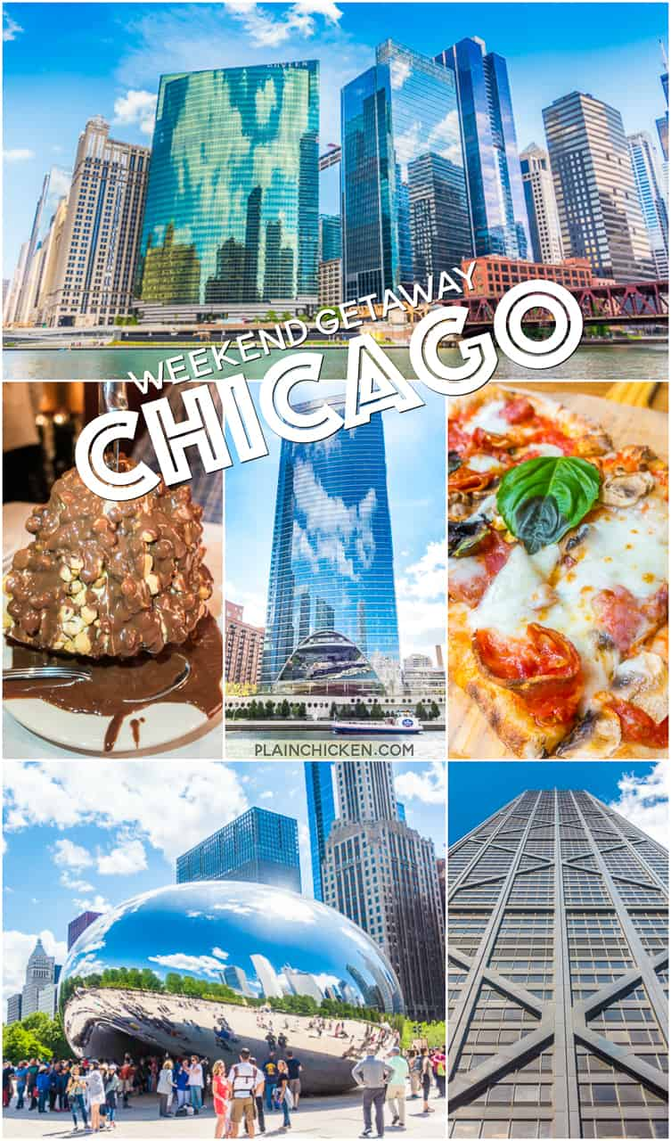 Chicago Weekend Getaway - only have a few days in Chicago? Here is a list of things you MUST see and EAT! Plus a rooftop bar with the BESt view of Chicago! Add these places to your list!