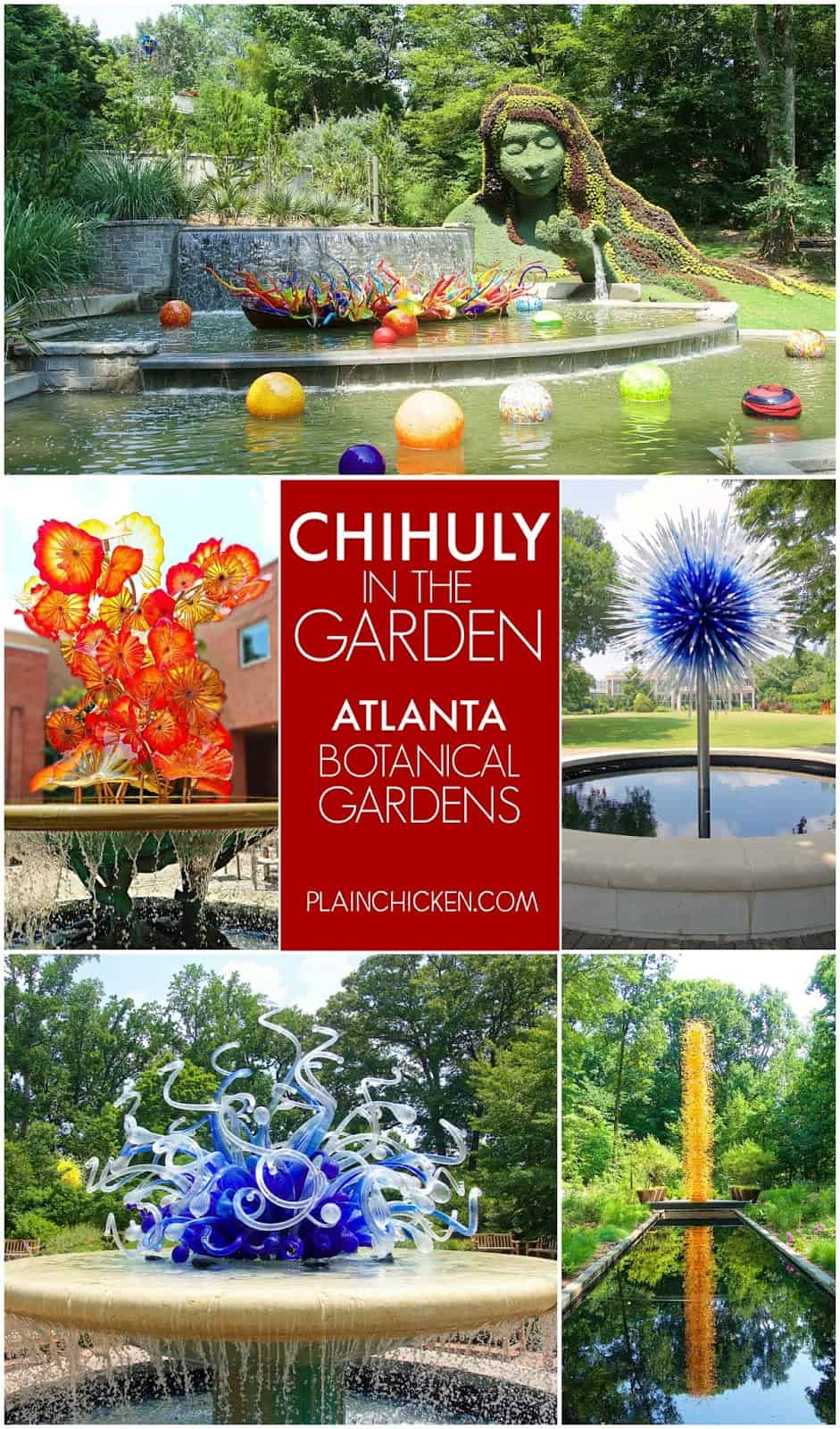 Chihuly in the Garden - Atlanta Botanical Gardens - 19 installation sites all around the gardens. It is like a treasure hunt to find them all! SO beautiful. Definitely worth a visit!