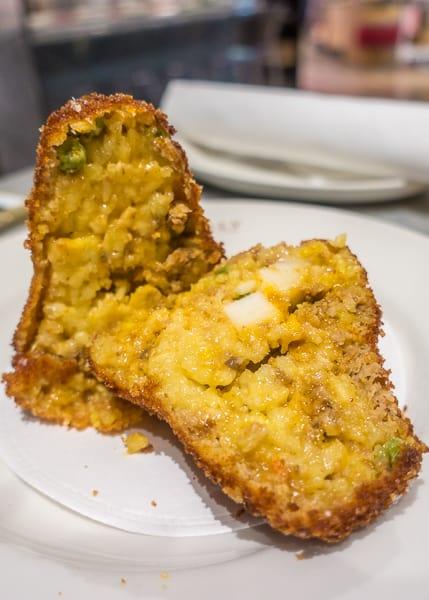 Ragu Arancini (fried risotto) at Eataly Chicago