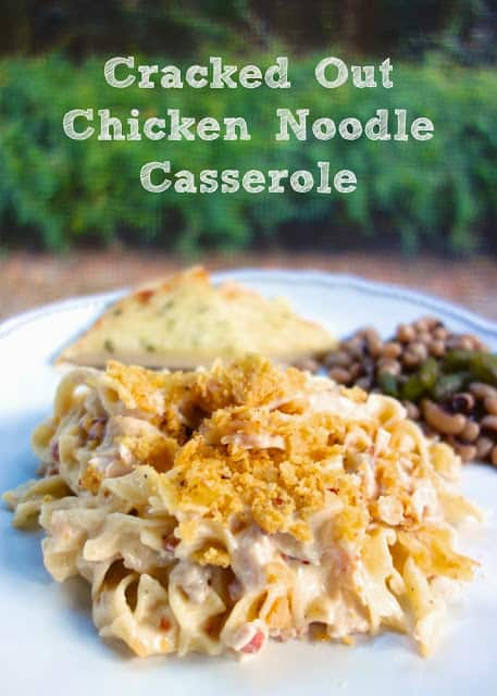 Cracked Out Chicken Noodle Casserole Recipe - chicken, noodles, chicken soup, cheddar, bacon, Ranch and sour cream, topped with crushed Fritos. THE BEST chicken casserole. We eat this at least once a month. Everyone loves it!