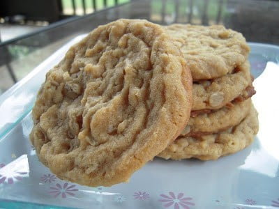 Oatmeal Peanut Butter Cookies - seriously delicious! Crispy on the outside, chewy on the inside! SO easy to make! Shortening, butter, brown sugar, sugar, peanut butter, eggs, flour, baking soda, salt and oatmeal. I always double the recipe! These cookies never last long!