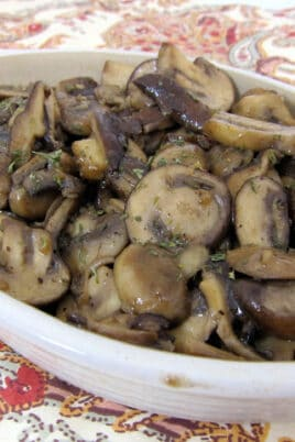 bowl of cooked mushrooms