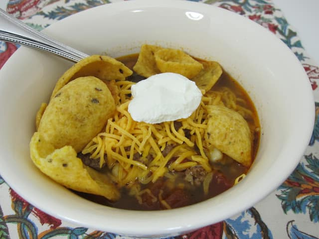 Taco Soup recipe - ground beef, taco seasoning, Ranch seasoning, pinto beans, black beans, corn, Rotel and water - ready in 20 minutes! Great freezer meal! Can also cook in slow cooker all day.