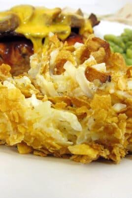 scoop of potato casserole on a plate