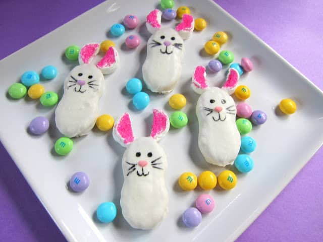 Nutter Bunnies - decorated Nutter Butter cookies - SO cute! No-Bake!!