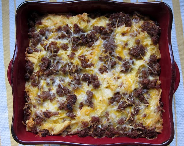 Maple Sausage and Waffle Casserole Recipe - waffles, sausage, cheese, eggs, milk and maple syrup. Can make the night before and refrigerate overnight - smelled amazing while it baked - tasted even better!!
