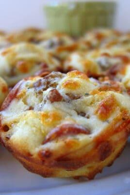 pizza puffs on a platter