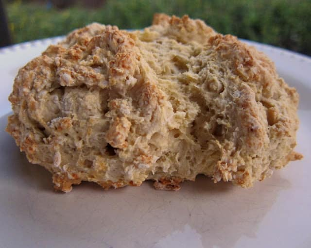Irish Soda Bread - only 4 ingredients! Flour, salt, baking soda and buttermilk. Simple bread recipe. Great for St. Patrick's Day!