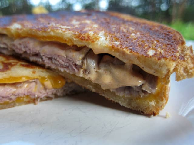 Beef & Cheddar Chipotle Panini Recipe - sourdough bread, roast beef, cheddar, chipotle peppers and ranch - my favorite grilled cheese sandwich. The sauce makes the sandwich!