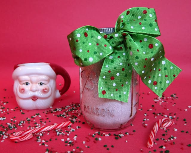 Homemade Peppermint Hot Chocolate Mix - great homemade holiday gift! I always have a jar in the pantry. This is SO good!!! SO easy to make. Only 5 ingredients - Candy canes, dry milk, cocoa powder, powdered sugar and corn starch. Christmas in a mug. YUM!